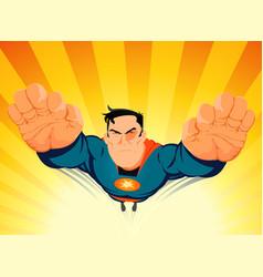 Superhero blasting off vector