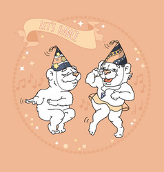 two cute bears in party hats are dancing vector image