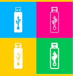 Usb flash drive sign four styles of icon vector