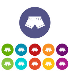 Woman cotton panties icons set flat vector