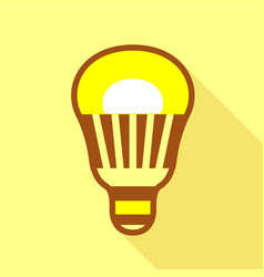 Yellow led bulb icon flat style vector