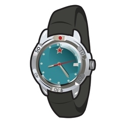 Mens classic retro watch with leather strap vector