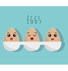 Cartoon cooked eggs design isolated vector
