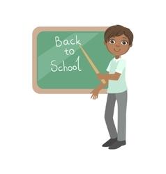 Boy In School Uniform With Pointer Standing Next vector image