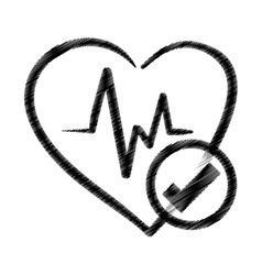Hand drawing heart rate ok health vector