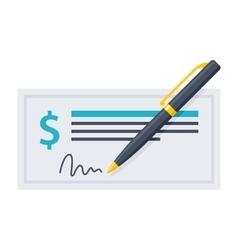 Bank Check and Pen vector image