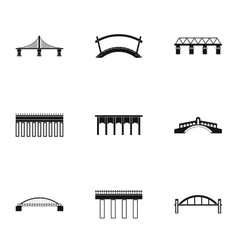 Bridge icons set simple style vector