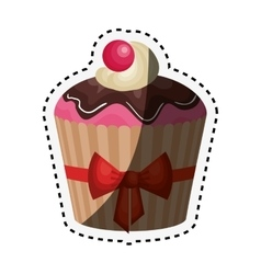 delicious cupcake birthday card vector image