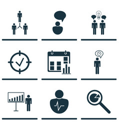 Set of 9 authority icons includes planning vector