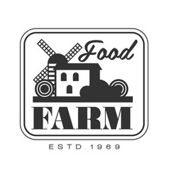 Food farm product estd 1969 logo black and white vector