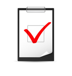 Clipboard with checkmark of designer on white vector