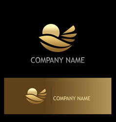 gold nature leaf environment logo vector image