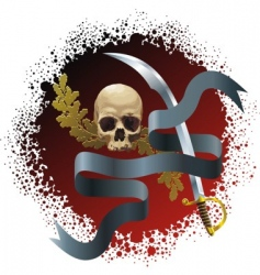 Skull on bloody background vector