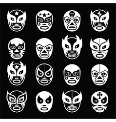 Lucha libre luchador Mexican wrestling white mask vector image