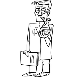 Evil scientist cartoon coloring page vector