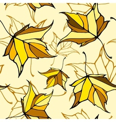Seamless pattern with stylized falling leaves vector