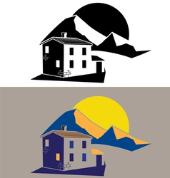 Country house in the mountains vector