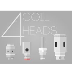 4 colored coil heads set vector