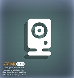 Web cam icon symbol on the blue-green abstract vector
