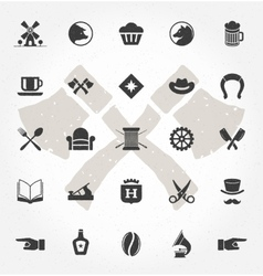 Retro hand drawn objects and icons vector