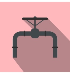 Pipeline with valve and handwheel flat icon vector