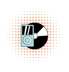 Mp3 player vinyl record comics vector