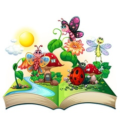 Butterflies and other insects in the book vector