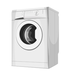 Modern silver washing machine vector