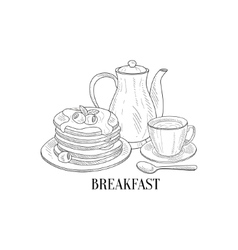 American breakfast with pancakes and coffee hand vector