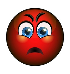 Angry red smiley emoticon vector