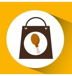 Bag shopping chicken thigh icon vector