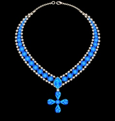 Blue necklace with a cross vector