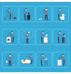Cleaning people flat icons vector
