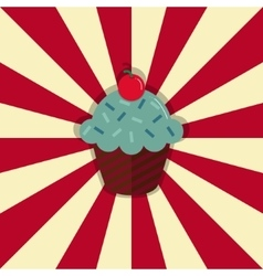 Cupcake with cherry on retro style circle ray vector image vector image