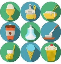 Daily products flat colored icons vector image vector image