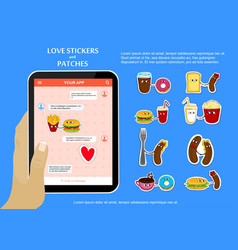 Fast food love stickers on chat application vector