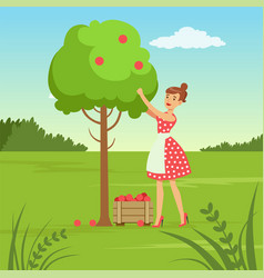 Flat woman character collecting the harvest vector