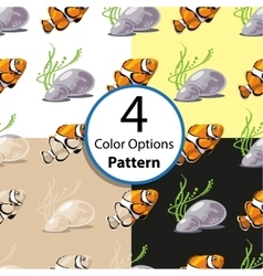 Four options seamless pattern with tropical fish vector