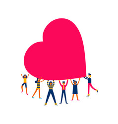 Group of people hold big heart love concept vector