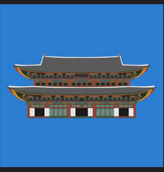 Gyeongbokgung south korea country design flat vector
