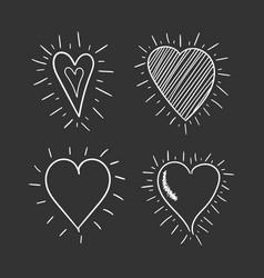 Hand drawn hearts icon set love vector