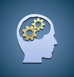 Human head with gears vector image