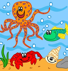 Marine life cartoon characters vector image