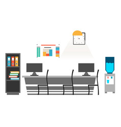 Office desk with chair computer some paper vector