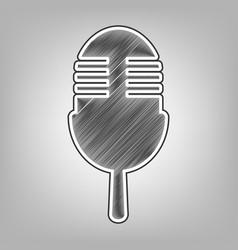 Retro microphone sign pencil sketch vector