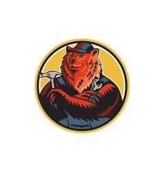 Russian Bear Builder Handyman Circle Woodcut vector image vector image