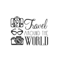 Travel around the world logo with traveler vector