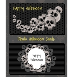 Two horizontal cards with human skulls vector