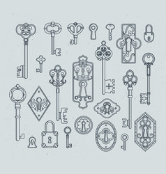 Vintage keys and padlocks for medieval doors hand vector