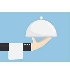 Waiter hand holding silver tray vector image